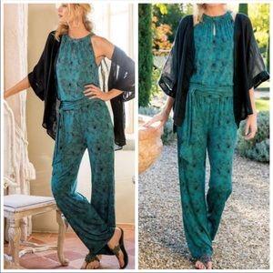 Soft Surroundings Green & Black Palm Jumpsuit S